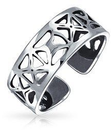 Bling Jewelry Sterling Silver Toe Rings Filigree Cutout X Mid Finger Ring.
