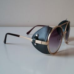 173d2b5f018 Purple   Gold Toned Sunglasses With Fabric Windguard