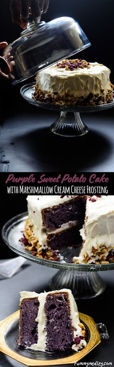 This deliciously decadent and technically accurate Purple Sweet Potato Cake with Marshmallow Cream Cheese Frosting is so good, it is impossible to resist! Cupcake Recipes, Baking Recipes, Cupcake Cakes, Dessert Recipes, Cupcakes, Easy Desserts, Delicious Desserts, Yummy Food, Hawaiian Desserts