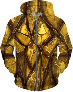 Limited Edition Gold Kryptonite Nightmare Custom Fantasy Style Zip Hoodie by Willy Badu.