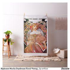 Alphonse Mucha Daydream Floral Vintage Art Nouveau Fabric