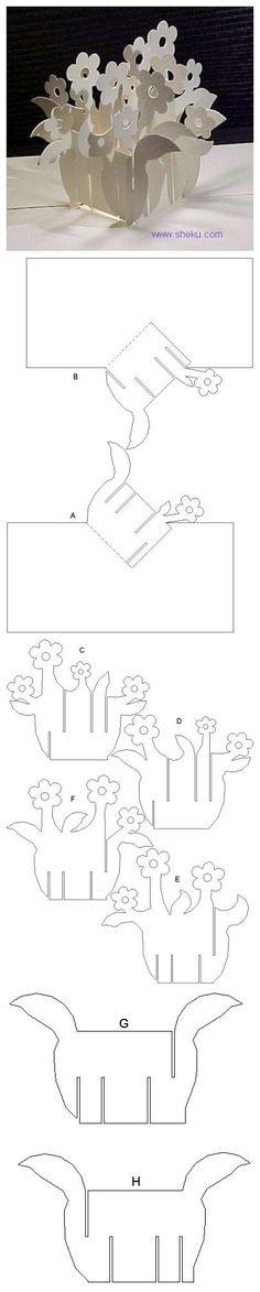 paper craft, printable templates, pop up cards, flower baskets, paper flowers, flower pots, centerpieces, cut outs, flower boxes