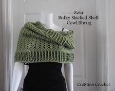 free crochet pattern bulky stacked shell cowl shrug