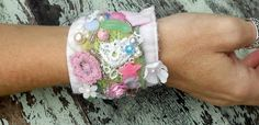 Etsy Transaction - Romantic Beaded Kei Cuff Bracelet Vintage beads Applique Embellished Jewelry Fabric cuff Cottage chic Shabby chic