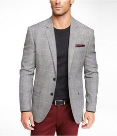 Express men's clothing gives you function and style in one. Check out our new men's fashion arrivals in suits, dress shirts, jeans, shirts and much more to update your men's style. Blazer Outfits Men, Mens Fashion Blazer, New Mens Fashion, Plaid Blazer, Urban Fashion, Maroon Pants, Red Pants, Der Gentleman, Gentleman Style