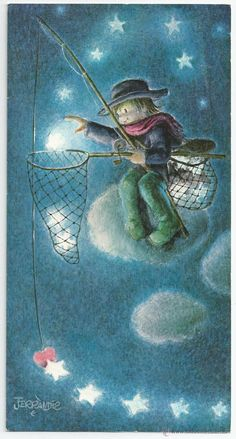 Little boy fishing for stars Vintage Christmas Cards, Vintage Cards, Vintage Postcards, Beauty Illustration, Children's Book Illustration, Moon Painting, Good Night Moon, Illustrations, Moon Art