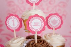 Tea Party Cupcake Toppers Birthday Party - Light Pink & Hot Pink