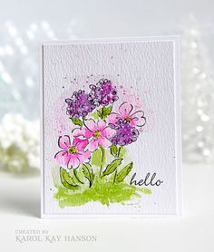 water colored card by Karol Kay using some very old SU stamps