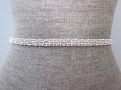 skinny Pearl & Silver glass beads Beaded bridal wedding sash / belt, Swarovski beading $40.00 USD