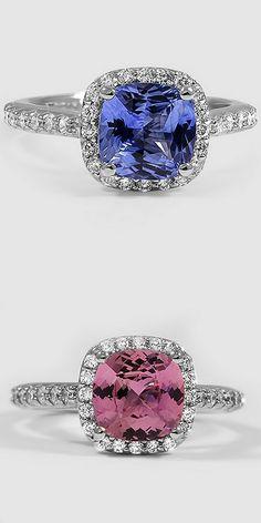 Sapphire Halo Diamond Rings