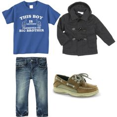 Toddler Boy outfit // graphic tee, toggle coat, jeans, & boat shoes