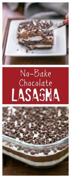 Chocolate Lasagna   A cool, decadent, no-bake, layered chocolate extravaganza! @lizzydo