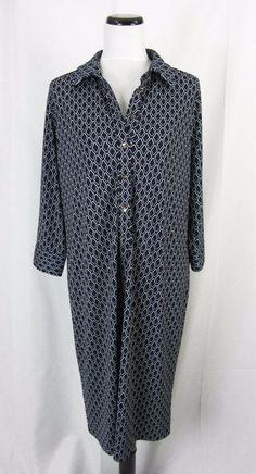 Talbots Dress Plus size 1X Navy Geometric Slinky Modest Career #Talbots #SheathShift #WeartoWork