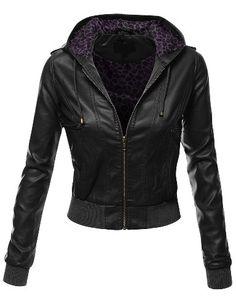 OOOOO! inside lining is faux purple leopard print.  love it.   Doublju Women's Zip Up Faux Leather Moto Jacket with Hoodie Black Small Doublju http://www.amazon.com/dp/B00KR62JJW/ref=cm_sw_r_pi_dp_fV.sub0MJ85FD