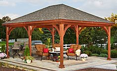 The Traditional Wood Pavilion would be the perfect addition to your backyard to shade you and your family and friends from the sun. Enjoy the outdoors in elegance and style.