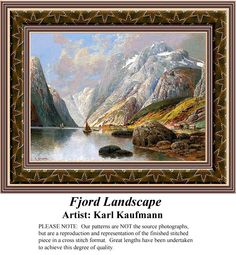 Fjord Landscape, Fine Art Counted Cross Stitch Pattern also available in Kit and Digital Download #pinterestcrossstitchpattern #pinterestgifts #fineartcrossstitchpatterns