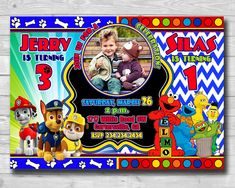Excited to share the latest addition to my #etsy shop: Sibling Birthday Invitation-Paw Patrol invitation-Sesame Street invitation-Paw Patrol Birthday-Elmo invitation-Twins Invitation-Digital #pawpatrolinvite #pawpatroltwins #sesamestreetinvite #sesamestreetparty #sesameinvitation #elmoinvitation #sesamebirthday #sesamedoubleinvite http://etsy.me/2iQHvlg