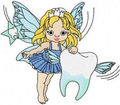 Tooth fairy embroidery design 3. Machine embroidery design. www.embroideres.com