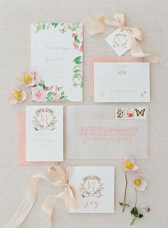 Spring infused watercolor wedding invitations in shades of pink | Photography: Jose Villa #weddinginvitation