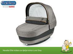 Bebi udobna košara atraktivnog izgleda za Peg Perego kolica u Luxe Grey boji.