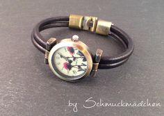 Uhr Bronze Schwarz Mohnblumen