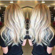 Sorta Straight/Sorta Wavy Long Platinum-Blonde Layered Hair