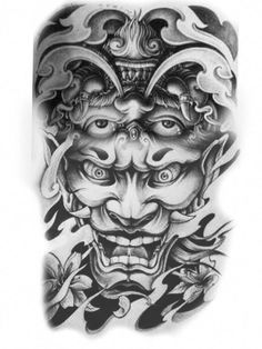 Sleeve tattoos, samurai mask tattoo, demon tattoo, asian tattoos, back tatt Samurai Mask Tattoo, Hannya Tattoo, Irezumi Tattoos, Hanya Mask Tattoo, Japanese Demon Tattoo, Japanese Sleeve Tattoos, Japanese Tattoo Meanings, Japanese Tattoo Designs, Body Art Tattoos