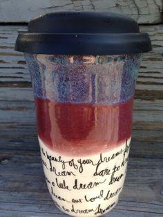 Travel Mug, Coffee Mug, Travel Coffee Mug, Ceramic Travel Mug, Handmade by RuthiesPottery by RuthiesPottery on Etsy