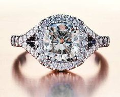 Split Shank Diamond Halo Engagement Ring | bridesandrings.com