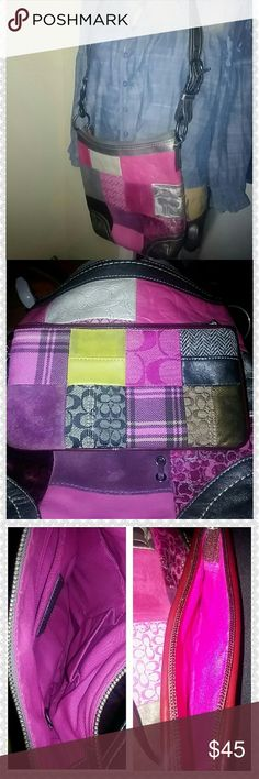 Coach patchwork cross body & wristlet Leather and suede patch work crossbows 10.5 can 11inches strap 36 inches long Wristlet 4x3 Inc strap  12 inches long Scratch boutique 1/2 inch Coach Bags Crossbody Bags