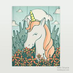 Unicorn with Flowers: This mystic unicorn stands under the clouds in the midst of lovely Japanese anemones and stag-horn ferns. Japanese Anemone, Staghorn Fern, Cardboard Packaging, Mystic, Unicorn, Doodles, My Arts, Stamp, Clouds