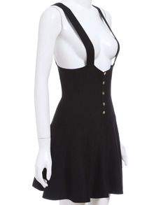Strap Suiting Buttons Flare Suspenders Black Dress -SheIn(Sheinside)