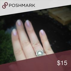 Silver tone CZ faux pearl fashion ring Cute and classy fashion ring. Jewelry Rings