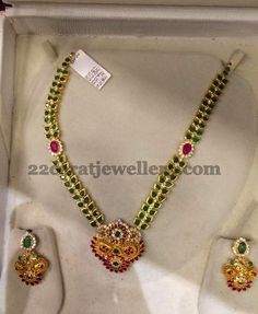 Jewellery Designs: Emerald Set with Ruby Hangings