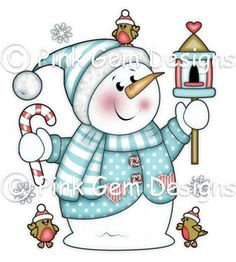 Pink Gem Designs : Chilly with Bird House - Digi Stamp - Please note that this is a digital image and you will not therefore receive anything through the pos. Christmas Rock, Christmas Snowman, Christmas Crafts, Christmas Decorations, Homemade Face Paints, Homemade Art, Snowman Images, Christmas Drawing, Patchwork Natal
