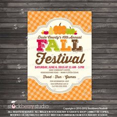 Fall Festival Invitation Printable Harvest por stockberrystudio