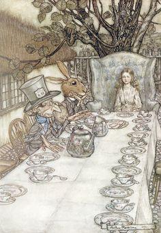 "Arthur Rackham illustration ""The Mad Tea Party"" - Alice in Wonderland."