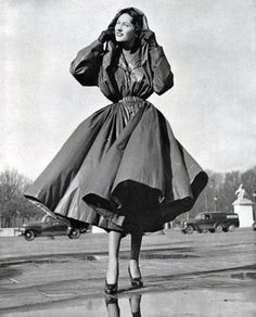 Balenciaga raincoat, 1950 vintage fashion style designer couture outerwear 50s fit flare princess cut coat jacket long street photo print model magazine