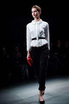 lace blouse w/black velvet pants