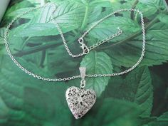 Aromatherapy heart locket on silver plated chain by BlissAbsolute