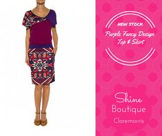 Beautiful purple fancy design top & skirt from the newst collection at Shine Claremorris