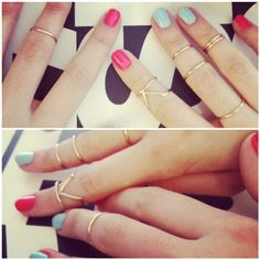 stacking gold mid-knuckle rings
