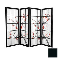 Ore International 4-Panel Cherry Fabric Folding Indoor Privacy ...