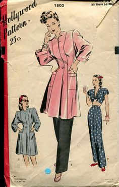 1940s Bra Top Breakfast Coat Tunic  Pajamas Sewing by retromonkeys, $25.00