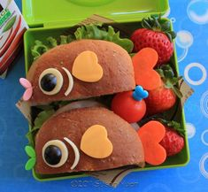 Kids Lunch: Fish Sammies on whole wheat bread-Isn't this adorable--See more here.  www.itswrittenonthewall.com