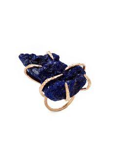 Lauren Wolf Jewelry Oversized Blue Azurite Ring