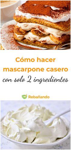 Cómo hacer mascarpone casero con solo 2 ingredientes #mascarpone #mascarponecasero #recetascaseras #recetasdeliciosas Empanadas, Mozzarella, French Toast, Cooking, Breakfast, Food, Lasagna Rolls, Frases, Baking