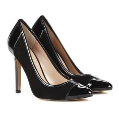 Sole Society Danika almond toe pump (31 CAD) ❤ liked on Polyvore featuring shoes, pumps, black, kohl shoes, high heel court shoes, black high heel pumps, black almond toe pumps and high heel pumps