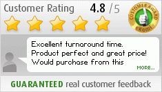 Customer review: Excellent turnaround time.  Product perfect and great price! Would purchase from this company again.