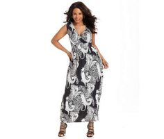 NY Collection Plus Size Dress, Sleeveless Printed Maxi